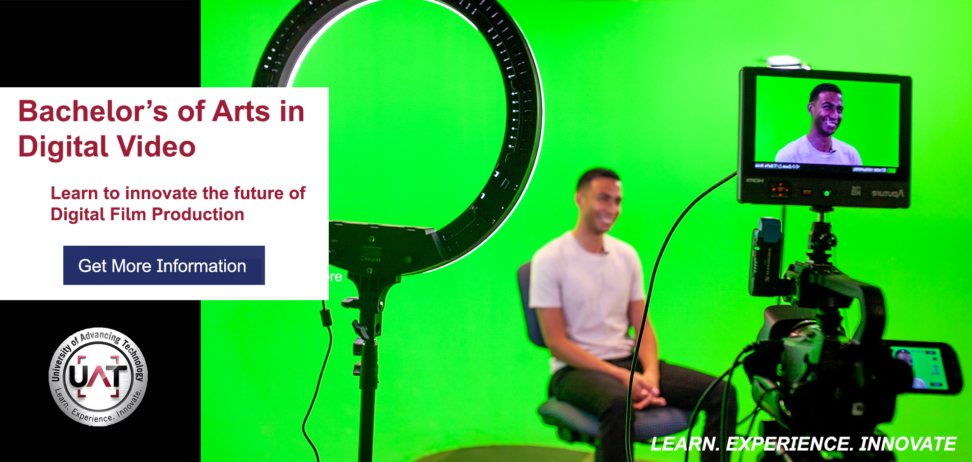 University of Advancing Technology student in front of green screen